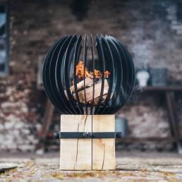 Design vuurkorf bol zwart staal